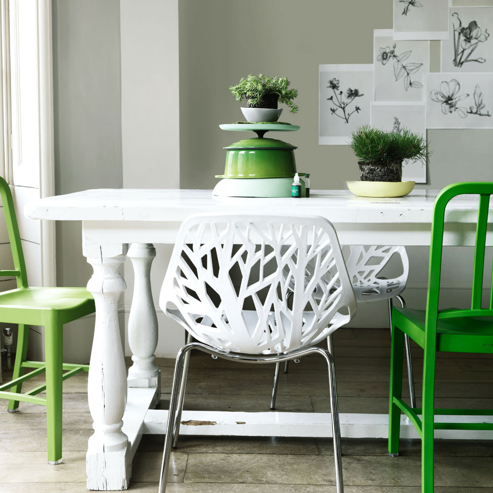 whit green chairs dining room